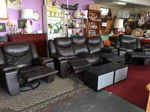 Real Leather 3 Piece Reclining Lounge Suite Sofa Recliner Chairs Clearview Port Adelaide Area Preview