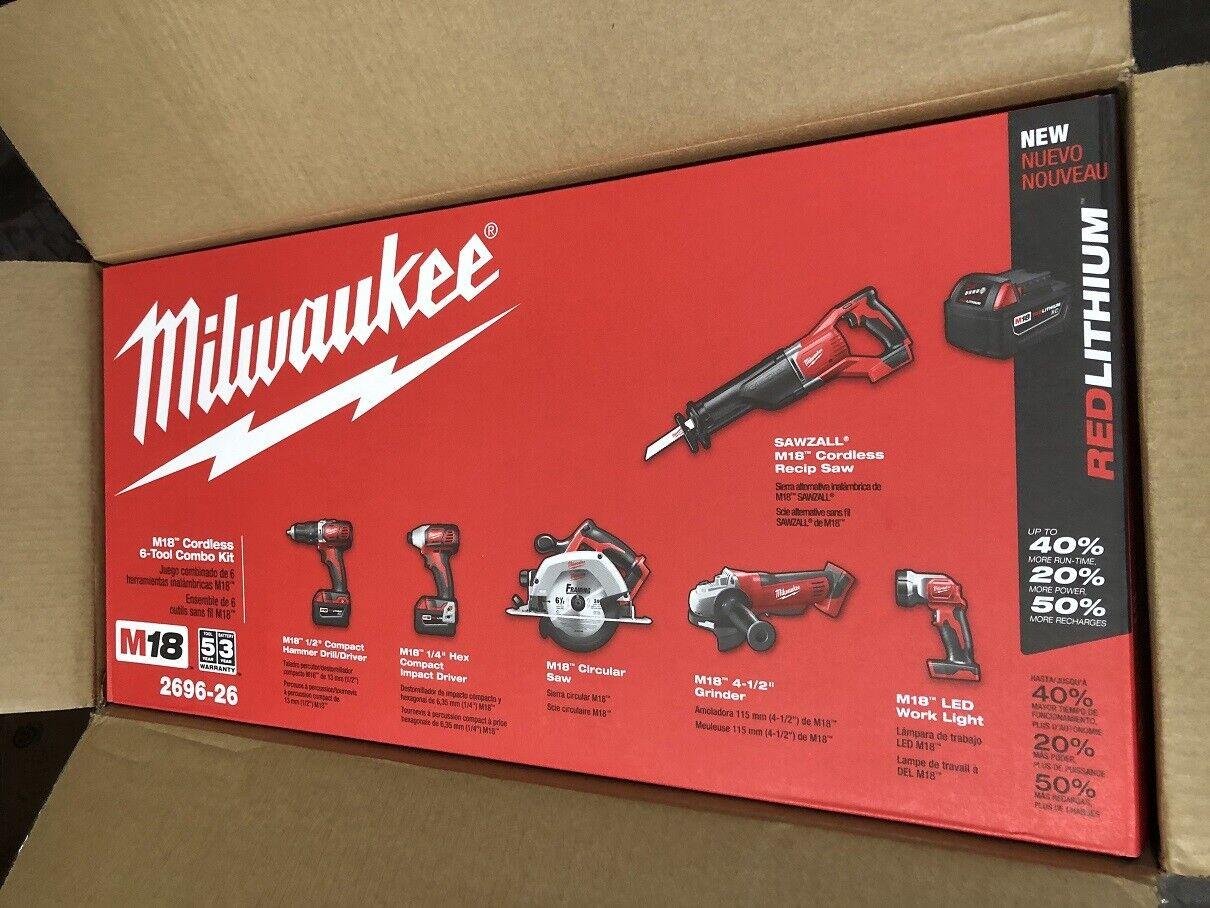 Milwaukee 2696-26 M18 Cordless Lithium-ion 6-Tool Combo Kit