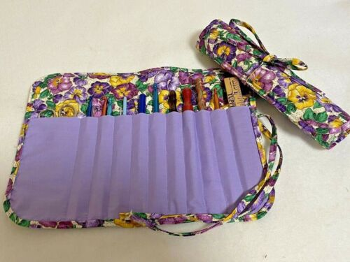 Handmade PRETTY SPRING PANSIES Quilted cotton fabric crochet hook case / holder