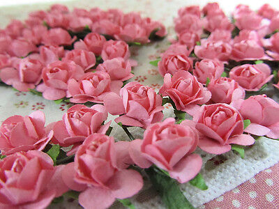 144 Mulberry Paper Rose Flower Bouquet/wire stem/scrapbooking/wedding H420-Pink ()