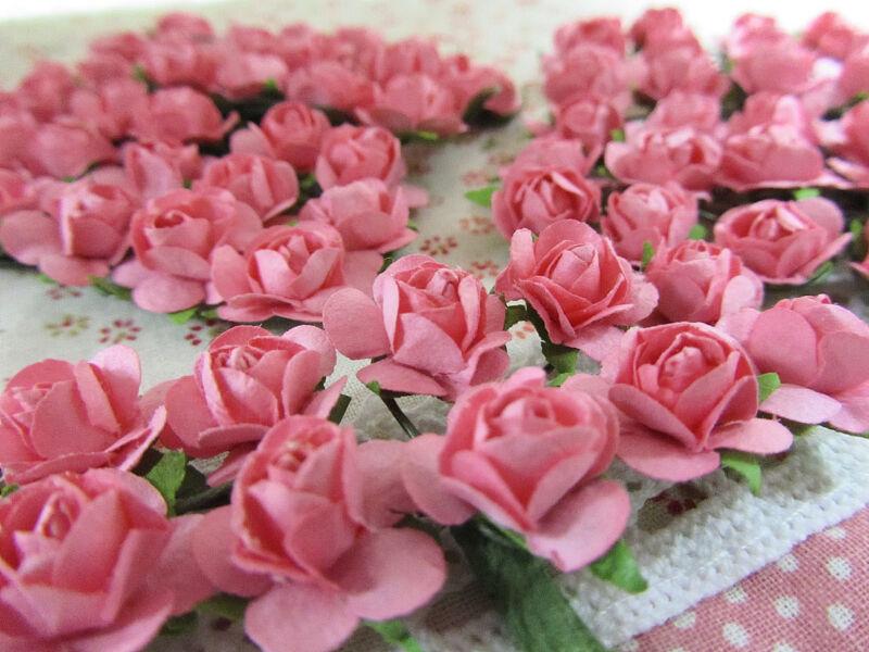 144 Mulberry Paper Rose Flower Bouquet/wire stem/scrapbooking/wedding H420-Pink
