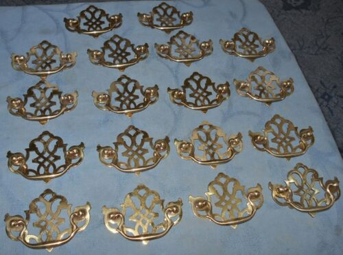 Great Set of  18  Vintage  Brass  Chippendale Style  Drawer Pulls
