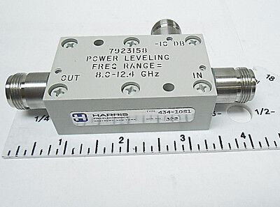 434-10s1 Harris Attenuator Power Lev. Frequency Range Type N 80-12.4 Ghz Nos