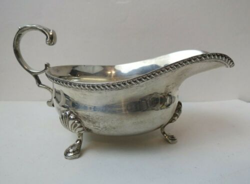 Georgian Style Sterling Silver Footed Sauce Boat Gravy Pitcher London
