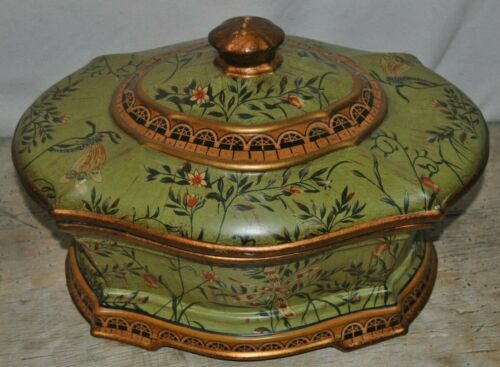 Old World Style Green and Gold Tureen * Flowers * Trimmed in Gold * Decor Only