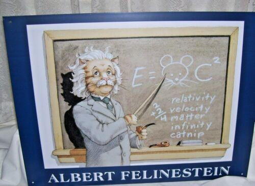 Humorous Cat Tin Sign Albert Felinestein  12 x 16
