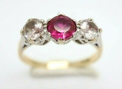 *Vintage 9ct Yellow Gold Ruby and Spinel Trilogy Ring, Size O 1/2