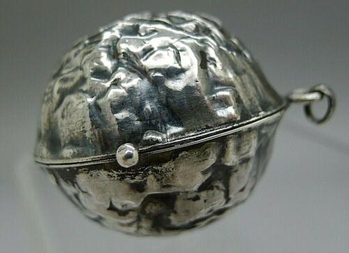 RARE c.1890 STERLING SILVER NUT SHAPED BOX LOCKET PERFUME PHOTO CHATELAINE