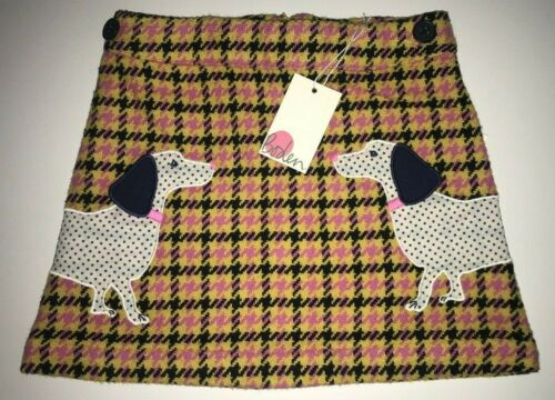 MINI BODEN Houndstooth Applique Skirt SPOTTED DACHSHUND DOG size 3 4 5 Years NWT