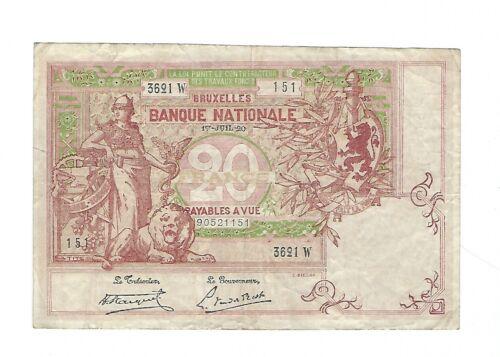 Belgium -  1920, 20 Francs