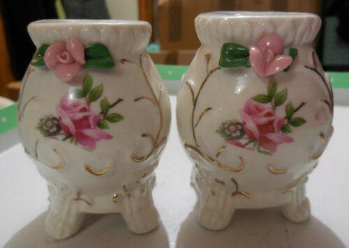 Vintage Salt & Pepper Shakers - Floral Pink Rose - Japan