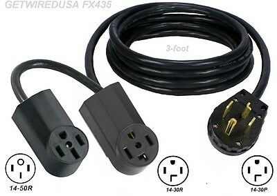 Y ADAPTER 14-30P PLUG 14-50R 14-30R RECEPTACLE DUAL SPLITTER 2 ADD DRYER / STOVE