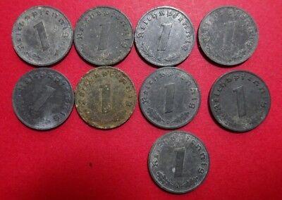 1 Reichspfennig, Deutsches Reich, 1940-1945, 9 Münzen