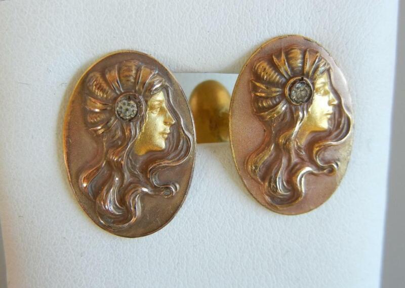 Antique Art Nouveau Gilt Cufflinks Female Portrait Flowing Hair HA&Co