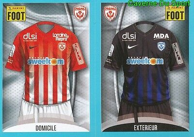 552-553 MAILLOT DOMICILE - MAILLOT EXTERIEUR AS.NANCY STICKER FOOT 2017 PANINI image