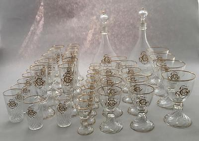 Set 44 Pieces French Monogrammed Saint-Louis Crystal Cristal Münzthal Gilt Cluny