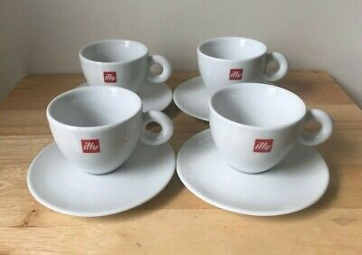 4 ILLY White Red Logo Espresso Cup & Saucer Sets - IPA Italy - EUC