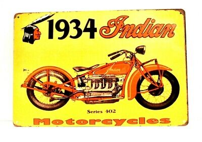 New Indian Motorcycles Tin Metal Sign Vintage Style Advertisement 1934 Yellow