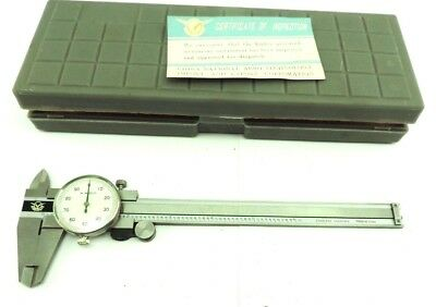 Aerospace Stainless Dial Caliper 6 Hardened 0.001 Inch With Case