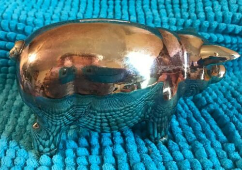 """REED & BARTON ~ SILVER-PLATED """"PIGGY"""" BANK ~ 6"""" COIN BANK WITH STOPPER ~"""