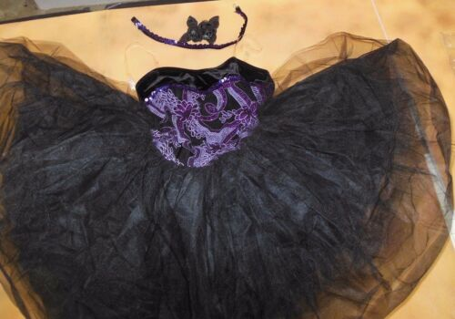 NWT Short Tutu ballet costume purple Glittered Organdy Ch/Plus szs sequin choker