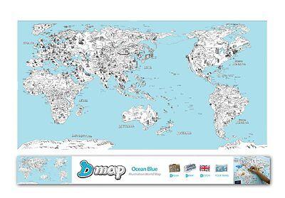 "DREAMSKY D-Map Blue Illustration World Map Poster w/ Deco Sticker 36"" x 20"""