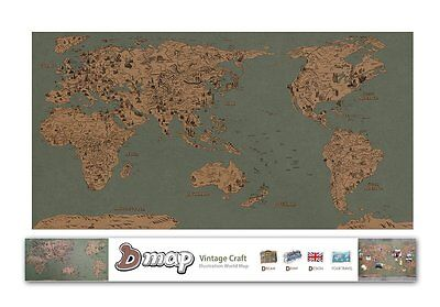 "DREAMSKY D-Map Vintage Illustration World Map Poster w/ Deco Sticker 36"" x 20"""