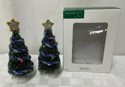 Dept 56 Village Accessories 2 Decorated Sisal Trees 52714
