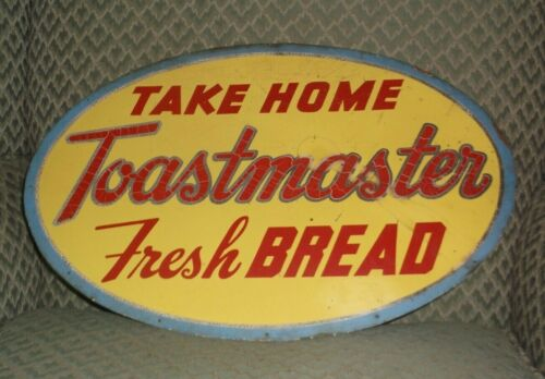 vintage TOASTMASTER BREAD metal double sided Grocery Store Sign