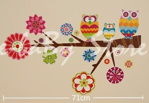 Nursery Children Kid Girl Boy Owl Flower Tree Wall Sticker Decal Stickaround