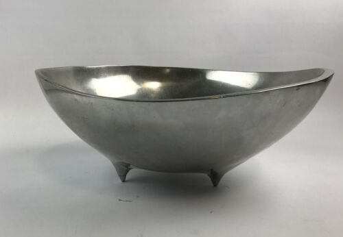 """Vintage BRUCE FOX Biomorphic Form Footed 13"""" Bowl  WILTON ARMETALE"""