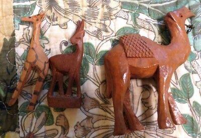 VINTAGE HAND CARVED OLIVE WOOD CAMEL, Giraffe and Antelope??