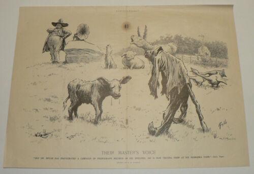 1908 Victor Phonograph Original Magazine Ad, Crying Animals, Edward Kemble