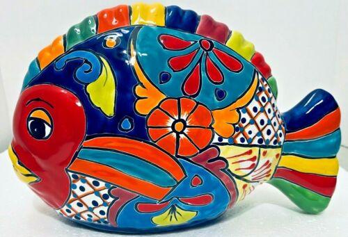 "Mexican Talavera Art Fish Figure Ceramic Pottery Folk Art Large 14"""