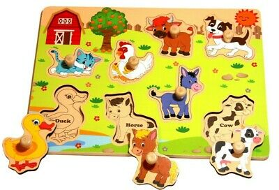Kids Wooden Puzzle. Farm. Jigsaw Board Toys. Child Educational Learning Toy.
