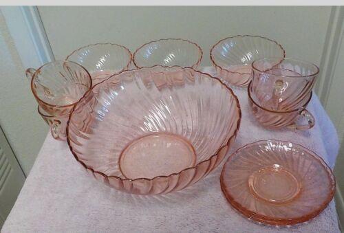 Arcoroc DINNERWARE ROSALINE PINK Swirl Glass
