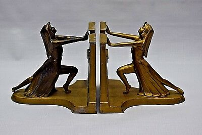 1924 RONSON ART DECO EGYPTIAN REVIVAL QUEEN OF NILE STATUE SCULPTURE BOOKENDS