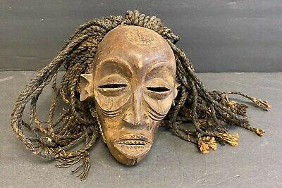 MID CENTURY AFRICAN CAMAROON CARVED WOOD CHOKWE MASK FIBER JSSNM