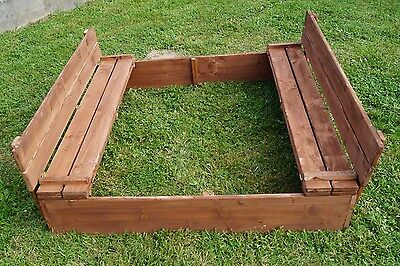 LARGE WOODEN GARDEN 1.2M SQUARE SANDBOX - SANDPIT WITH WOODEN LID & SEATS
