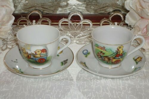 Vintage Superior Quality Japan 2 x Child Tea Cups and Saucers Chicks and Rabbits