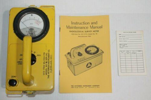 Victoreen OCD CDV-715 Radiation Detector Survey Meter Model 1A 1B Civil Defense