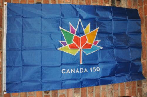 CANADA 150 Year Anniv. Rainbow Leaf BLUE FABRIC FLAG 3 x 5 FEET Metal Grommets