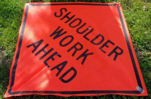 "Shoulder Work Ahead Traffic Sign, Mesh, 48"" Height, 48"" Width Folding GLA"