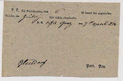Österreich 1814 Postvormular von GRAZ nach GLEISDORF. Schön!