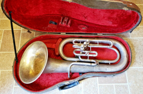 Vintage 1930s King Silver Baritone Horn Serial # 164611