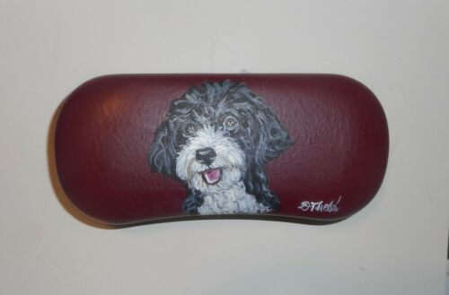 Portuguese Water Dog Hand Painted Hard Eyeglass Sunglass Case