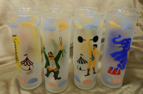 Set of 8 Vtg Libbey Circus Frosted Highball Glasses All Different, Lion Elephant