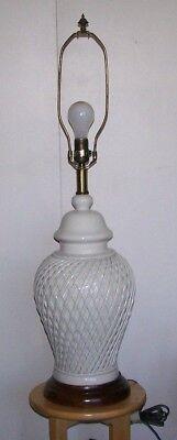 Vintage Frederick Cooper Ginger Jar Lamp Basket Weave Off White Signed Wood Base