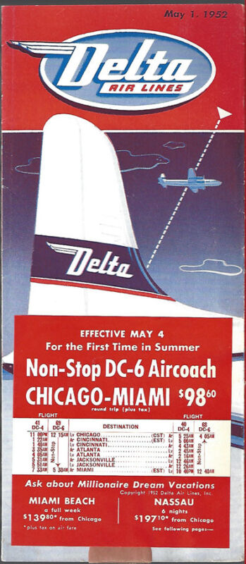 Delta Air Lines system timetable 5/1/52 [7032] Buy 4+ save 25%