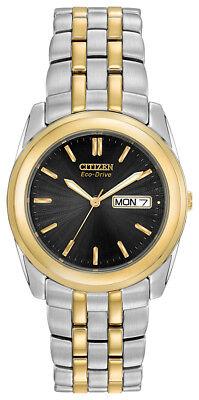Citizen Eco-Drive Men's Black Dial Two Tone Bracelet 35mm Watch BM8224-51E